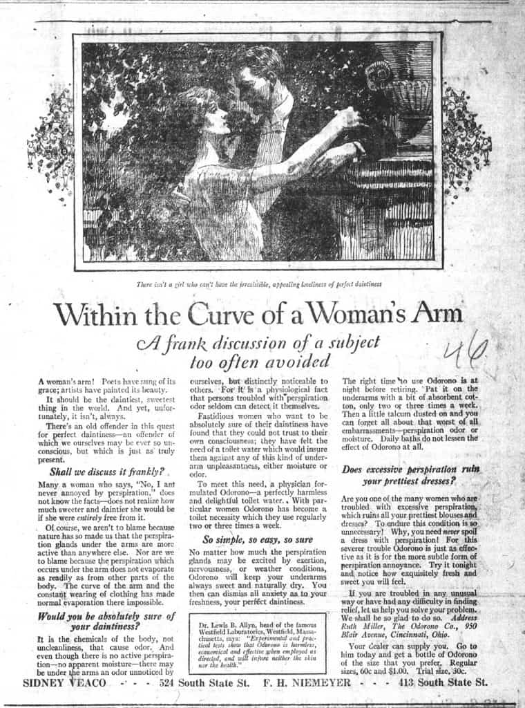 Copywriting Examples   Within The Curve of a Woman's Arm – Odo-ro-no Deodorant – Edna Murphey – James Webb Young